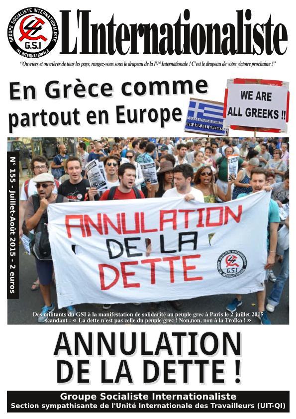 Une de l'Internationaliste 155